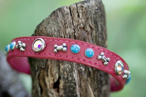 Leather Crystal Turquoise Dog Collar