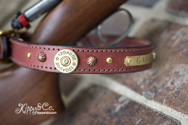 12 Guage Shotgun Shell Concho Dog Collar with Engraved Brass Name Plate