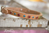 Personalized Leather Collar with turquoise stones 1/2 inch wide