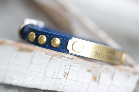 Tiny Personalized Leather Dog Collar