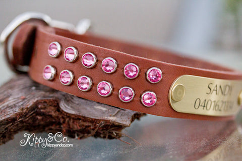 Personalized Leather Collar With Pink Crystals