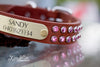 Natural Leather Dog Collar With Pink Swarovski Crystals and Engraved Brass Name Plate