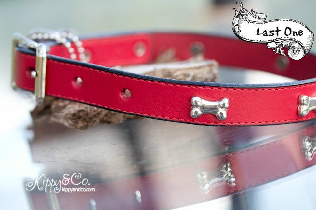 Red Leather Dog Collar With Silver Bone Accents