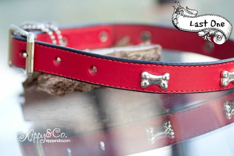 Red Leather Collar With Bones