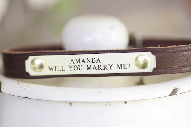 Personalized Wedding Dog Collar With Will You Marry Me Brass Name Plate