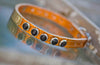Metallic Apricot Collar with Jet Black Swrovski Crystals and name plate