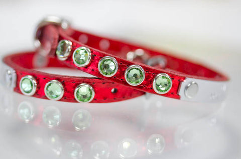 Red Leather Crystal Dog Collar