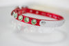Red Metallic Dog Collar with crystals and a name plate