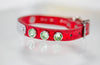 Small Leather Collar with Swarovski Crystals and a personalized name plate