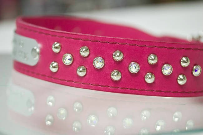 Personalized Leather Collar with Silver Studs and AB Swarovski Crystals
