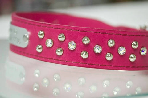 Leather Crystal and Stud Dog Collar