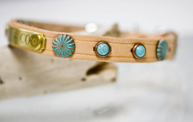 Leather Dog Collar with Patina Copper Conchos, Turquoise Cabochons and personalized name plate