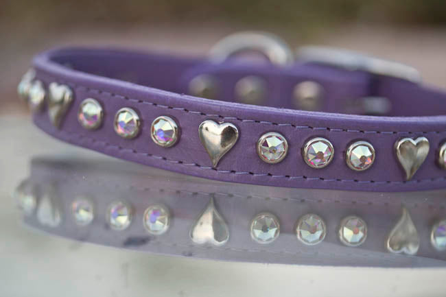3/4 inch wide leather collar with silver hearts and swarovski crystals