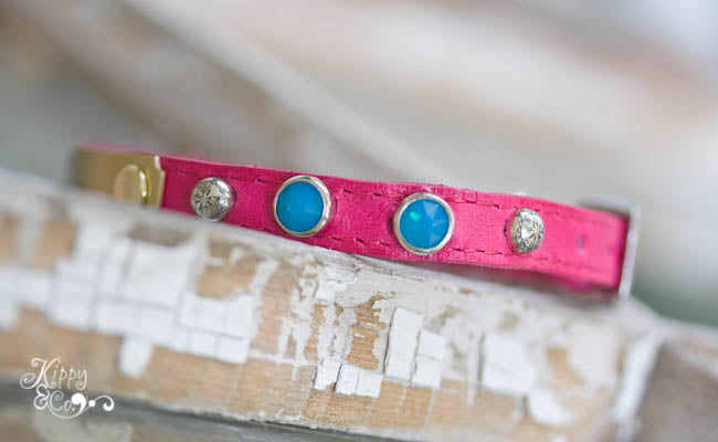 Tiny Personalized Leather Chihuahua Collar with silver spots and solid turquoise crystals