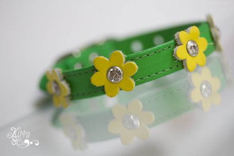 Green Leather Collar with Yellow Flowers