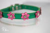 Metallic Green Signature Leather Collar with metallic purple flowers dog collar