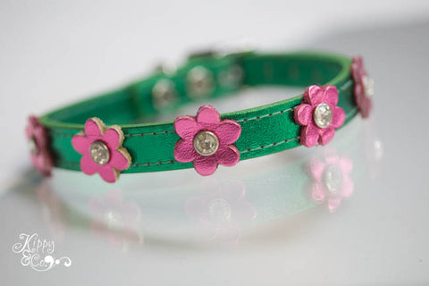 Metallic Green Signature Flower Collar