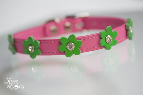Pink Leather Dog Collar with Green Flowers