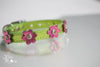 Metallic Lime Green Leather Collar with Metallic Pink Flowers and crystals
