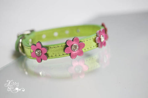 Metallic Lime Green Leather Collar with Flowers