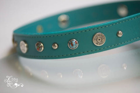 Turquoise Winchester 45 Colt Leather Dog Collar