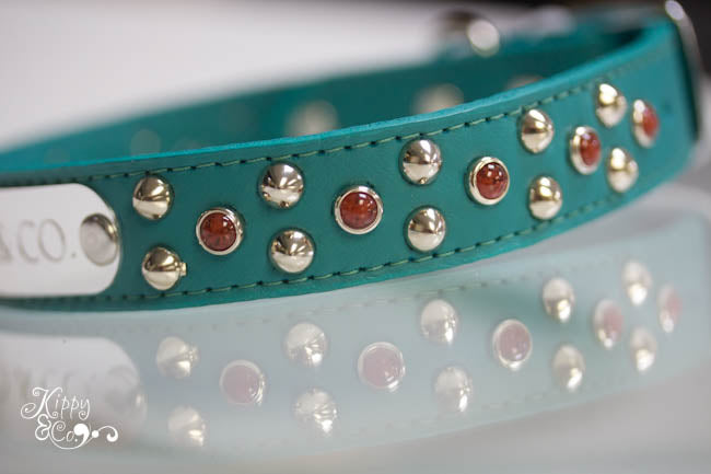 Turquoise Leather Collar With Silver Cone Studs and Red Cabachons