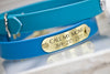 Bahama Blue waterproof dog collar with personalized name plate