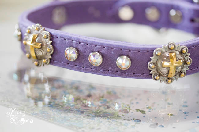 Soft Leather Collar with Cross Conchos and AB Swarovski Crystals