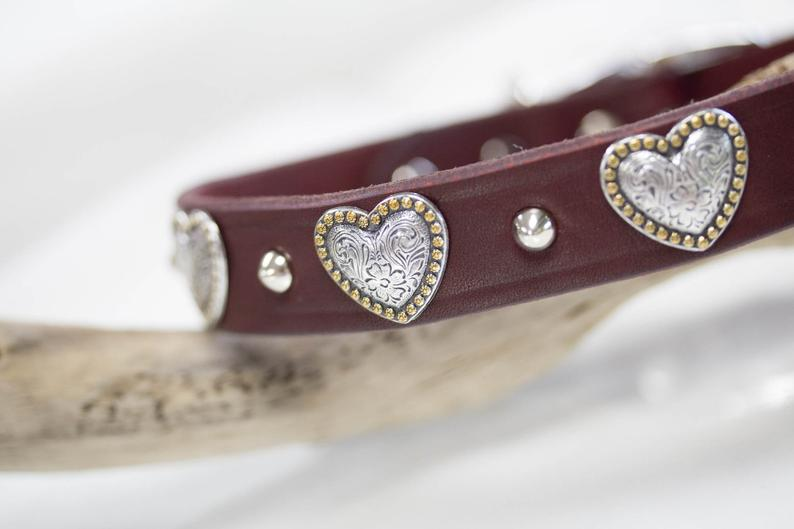 Leather Collar with hearts and silver cone studs