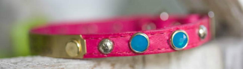 Small Pet Collar with Turquoise Crystals