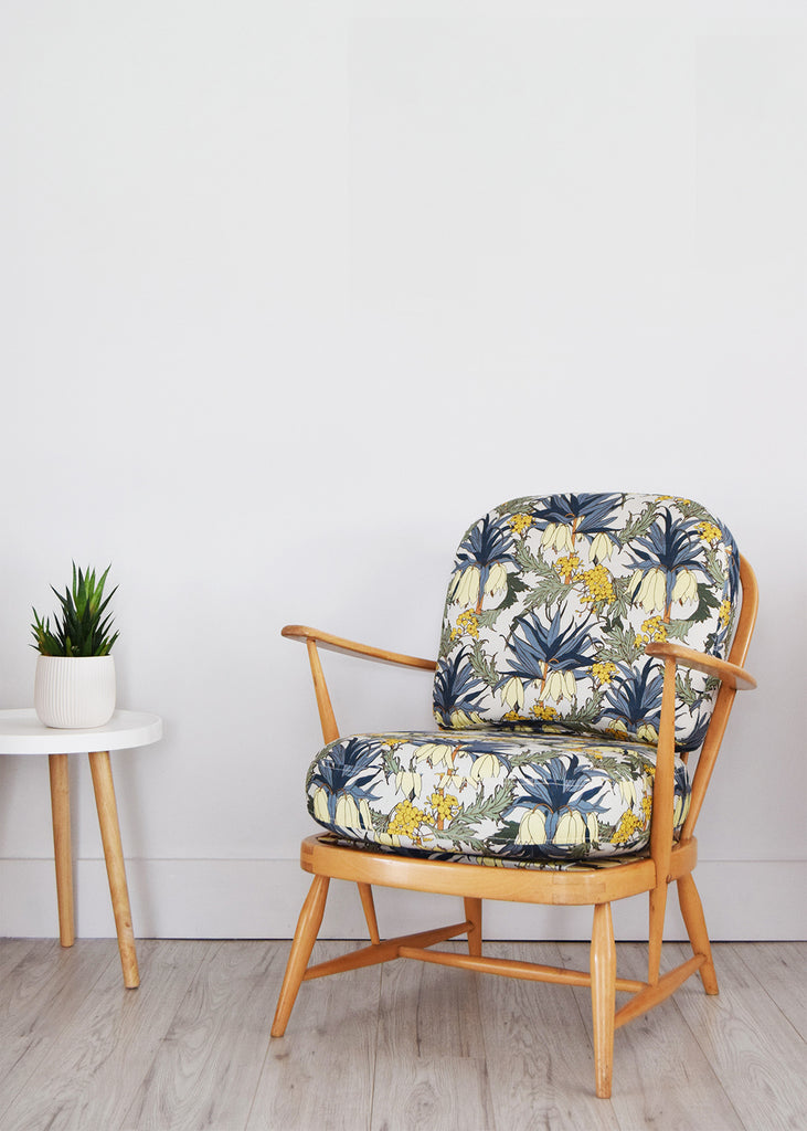 Vintage Ercol 334 Easy Chair in Abigail Borg Friti Slate Botanical Textile Fabric