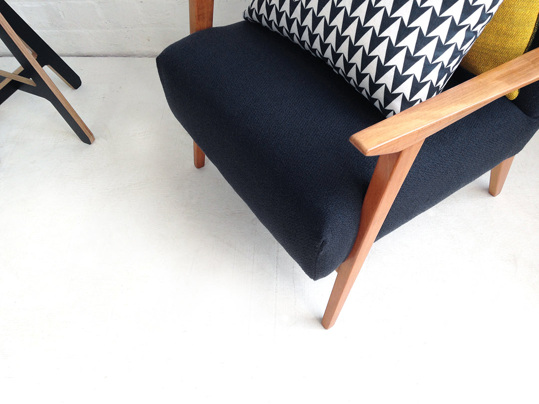 Retro Armchair in Charcoal Wool