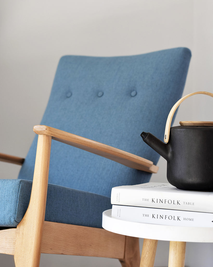 Restored Vintage Retro Parker Knoll Rocking Chair in Blue Fabric