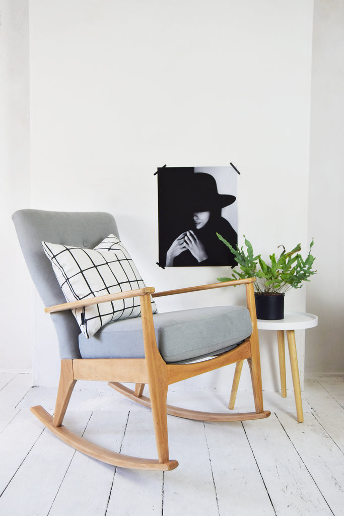 Retro Parker Knoll Rocking Chair in Grey Linen Florrie + Bill