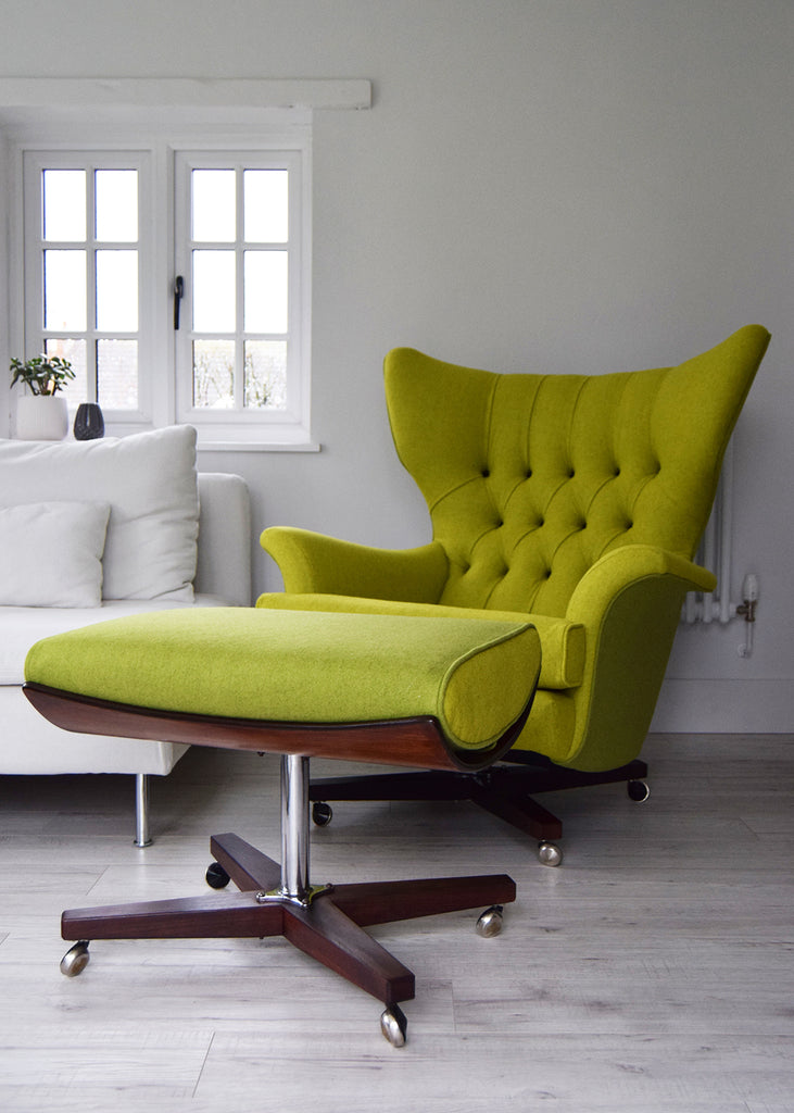 Vintage G Plan 6250 Wing Chair in Yellow Wool by Florrie + Bill
