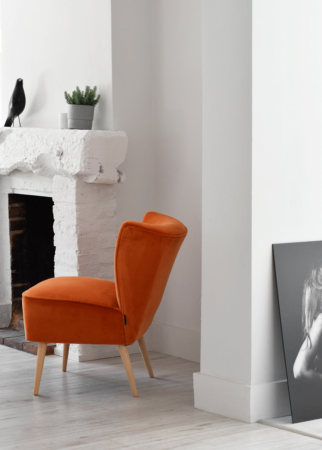 Vintage Retro Cocktail Chairs in Orange and Peach Velvet