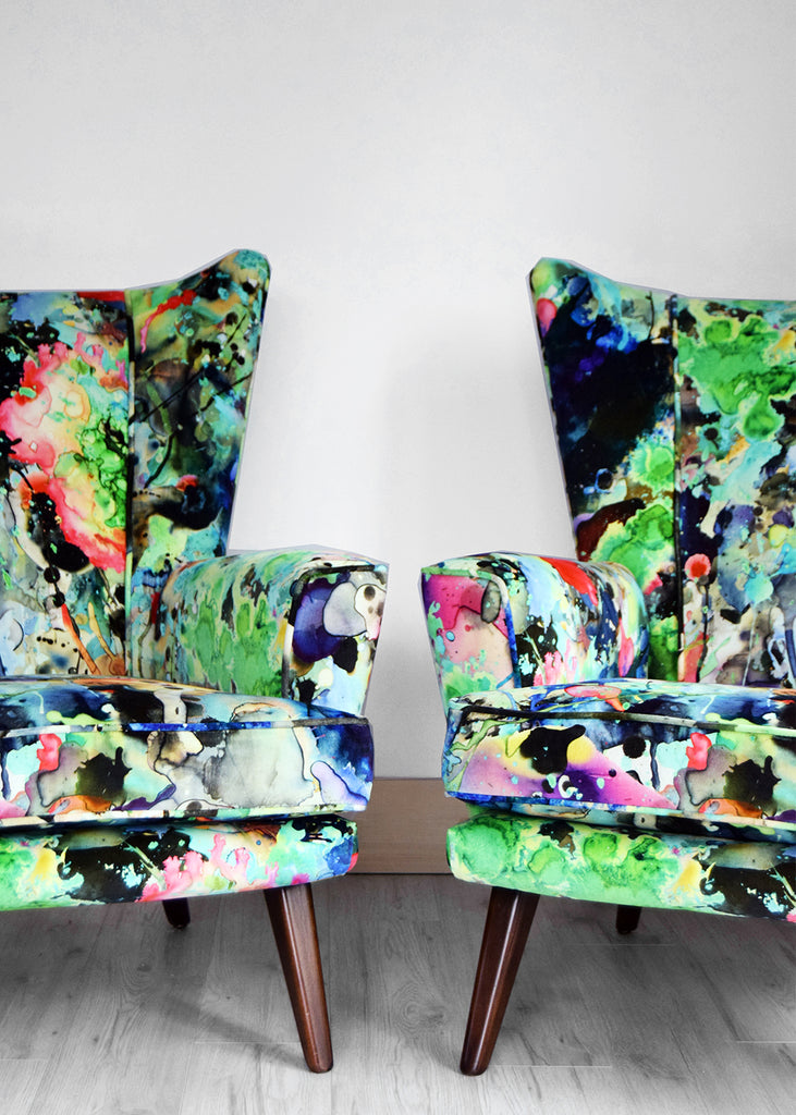 Vintage G Plan chairs in Timorous Beasties Kaleido Splat Velvet