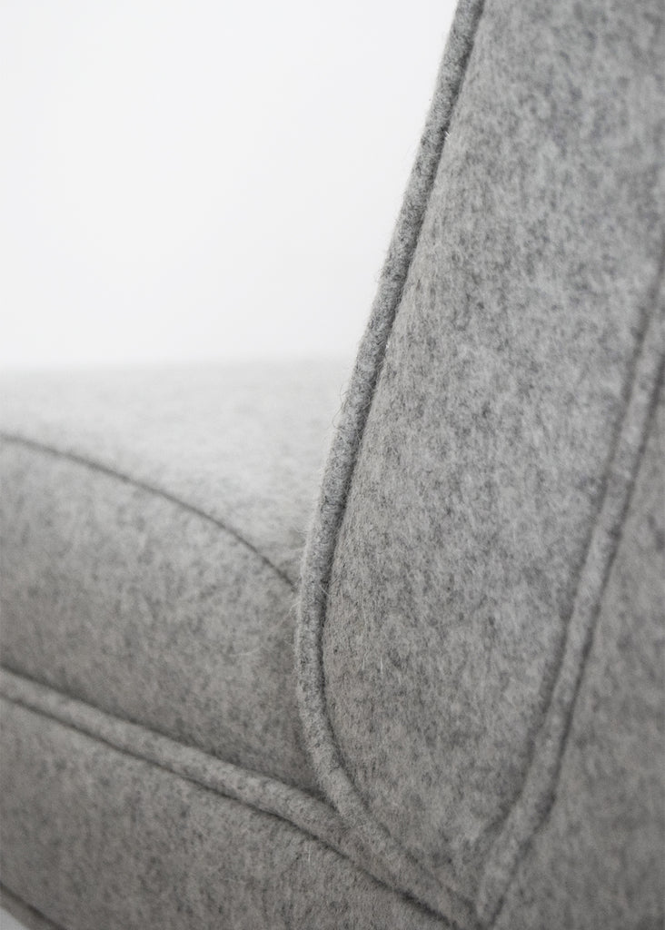 Retro vintage chair restored in grey light wool