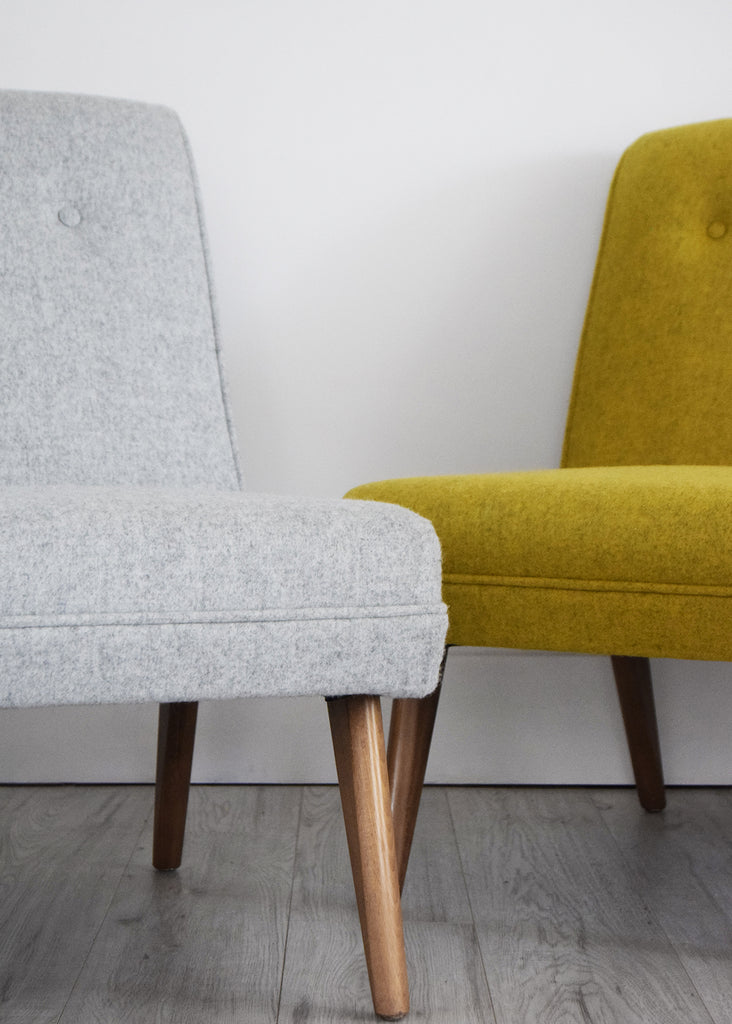 Retro vintage chair restored in mustard yellow and grey wool