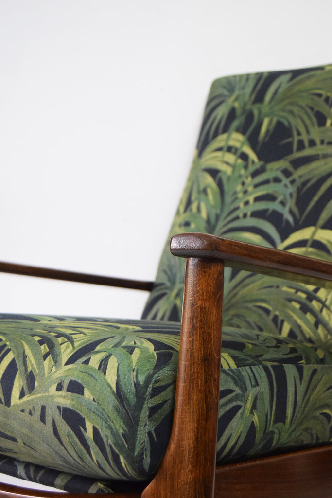 Retro Parker Knoll Rocking Chair by Florrie + Bill House of Hackney Palmeral Palm Print