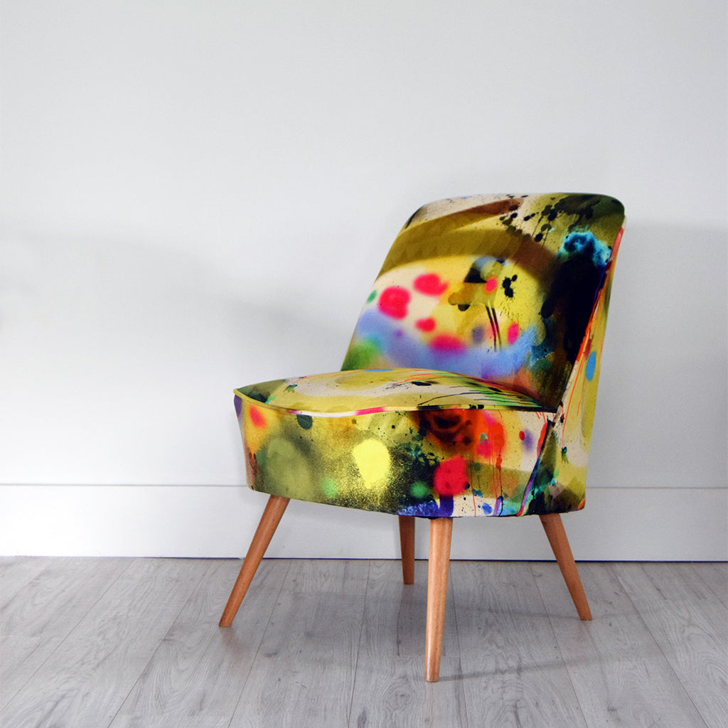 Florrie + Bill Vintage Chair in Timorous Beasties Graffiti Velvet Fabric