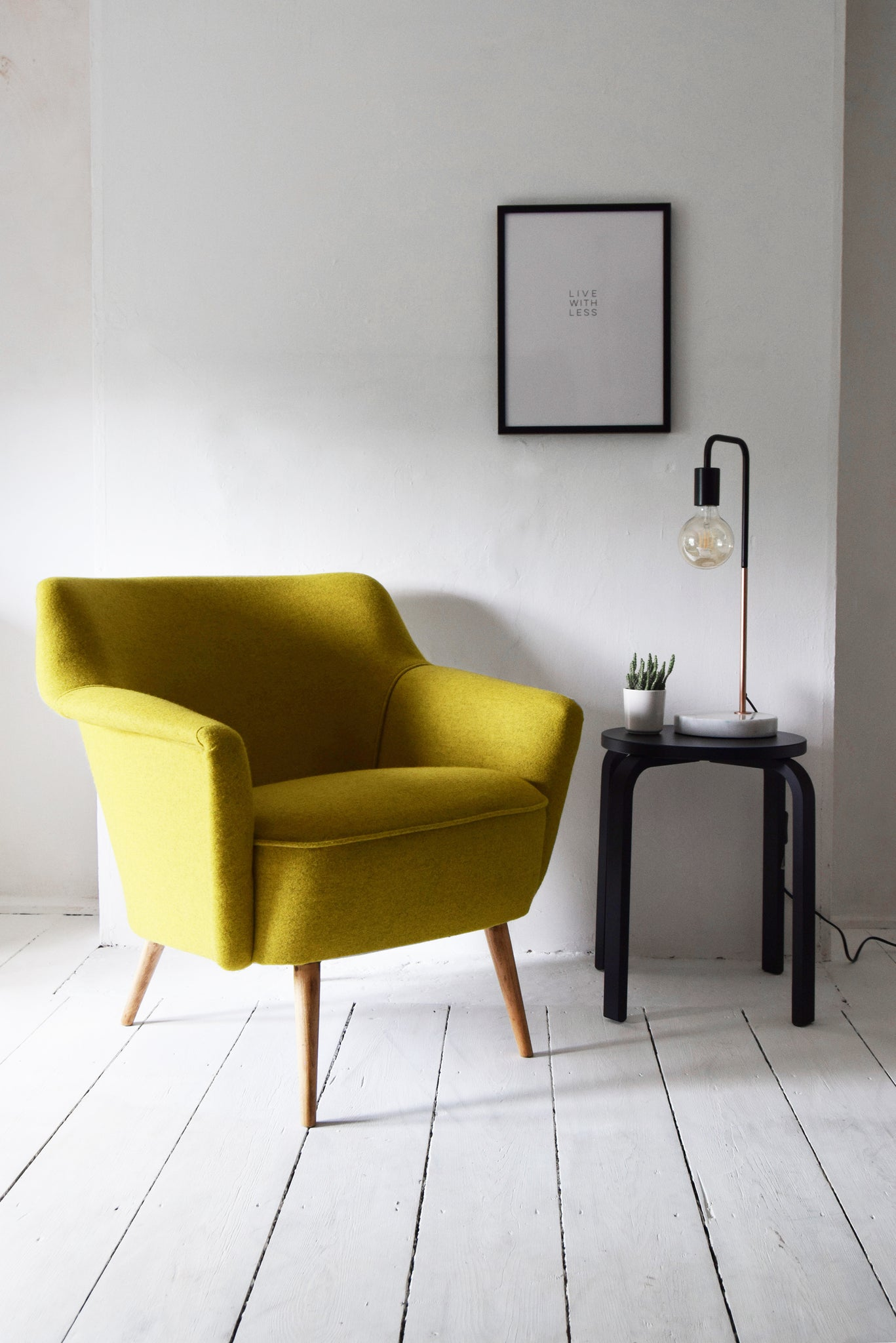 Yellow Wool Accent Armchair