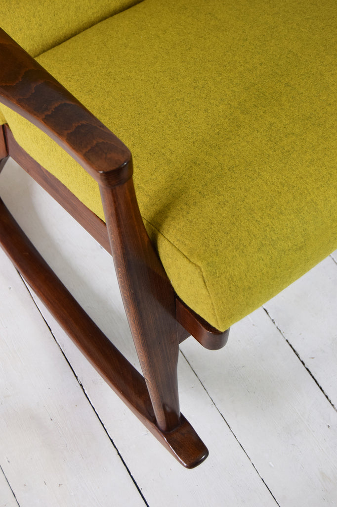 Retro Parker Knoll Rocking Chair in Mustard Yellow Wool by Florrie and Bill