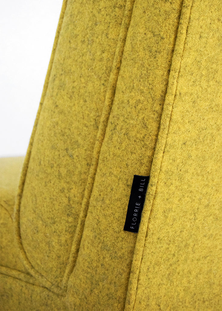 Retro vintage chair restored in mustard yellow wool