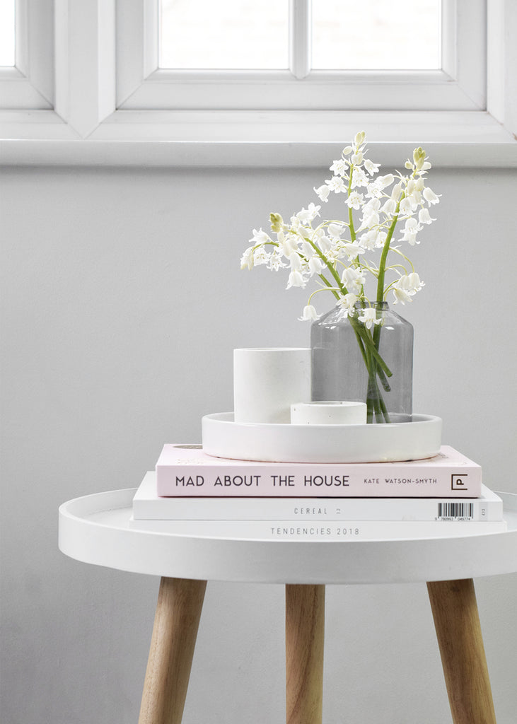 Simple interior styling white bells books JYSK table and Mad About The House Book