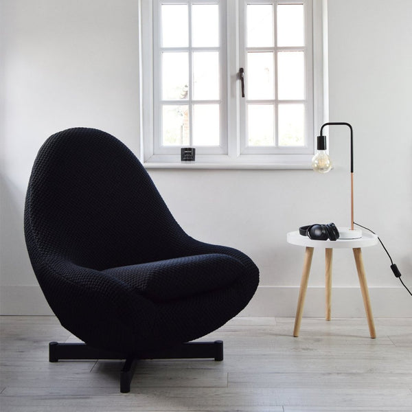 Retro Greaves & Thomas Swivel Egg Chair in FEBRIK Beans Fabric in Black