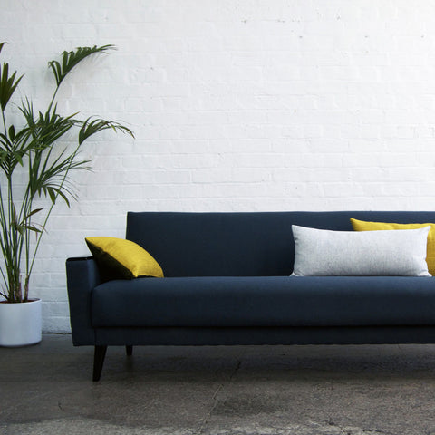Retro Sofa in Navy Wool