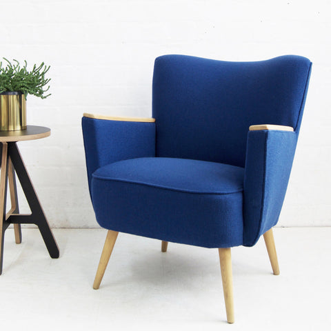Blue Wool Vintage Armchair
