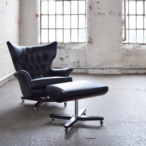 Black Leather G Plan 6250 Swivel Chair