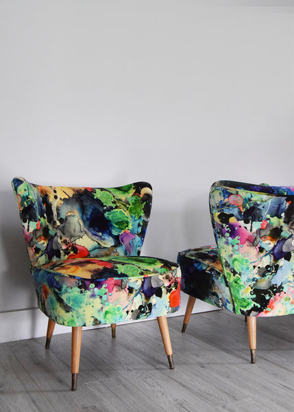 Vintage Cocktail Chair in Timorous Beasties Fabric - Florrie + Bill
